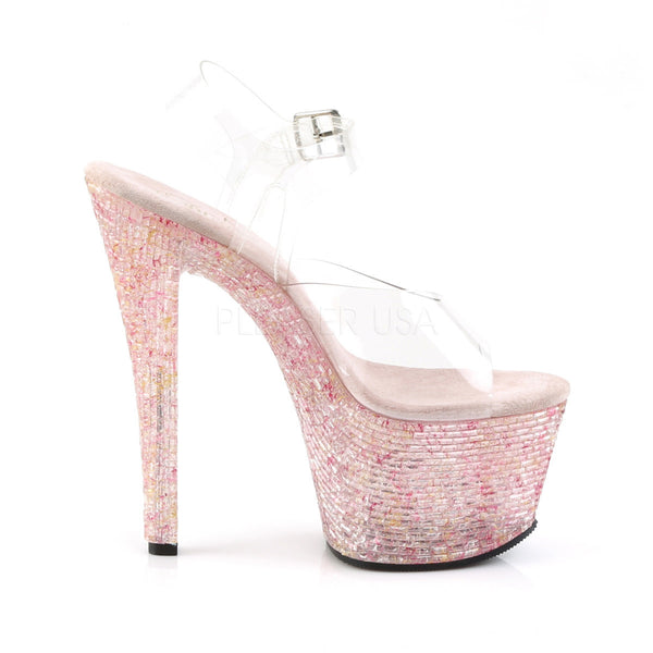 Pleaser CRYSTALIZE-308TL Clear Ankle Strap Sandals With Pink Crystal Platform