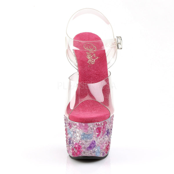 PLEASER CRYSTALIZE-708 Clear-Pink Multi Ankle Strap Sandals - Shoecup.com - 2