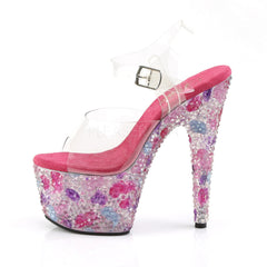 PLEASER CRYSTALIZE-708 Clear-Pink Multi Ankle Strap Sandals - Shoecup.com - 3
