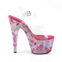PLEASER CRYSTALIZE-708 Clear-Pink Multi Ankle Strap Sandals - Shoecup.com - 5