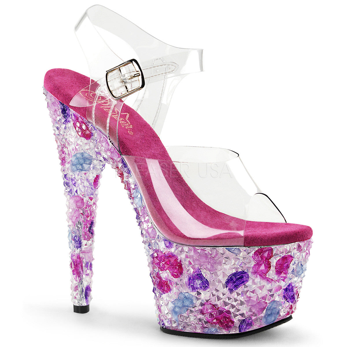 PLEASER CRYSTALIZE-708 Clear-Pink Multi Ankle Strap Sandals - Shoecup.com - 1