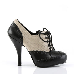 PINUP COUTURE CUTIEPIE-14 Cream-Black Distressed Pu Oxford - Shoecup.com - 3