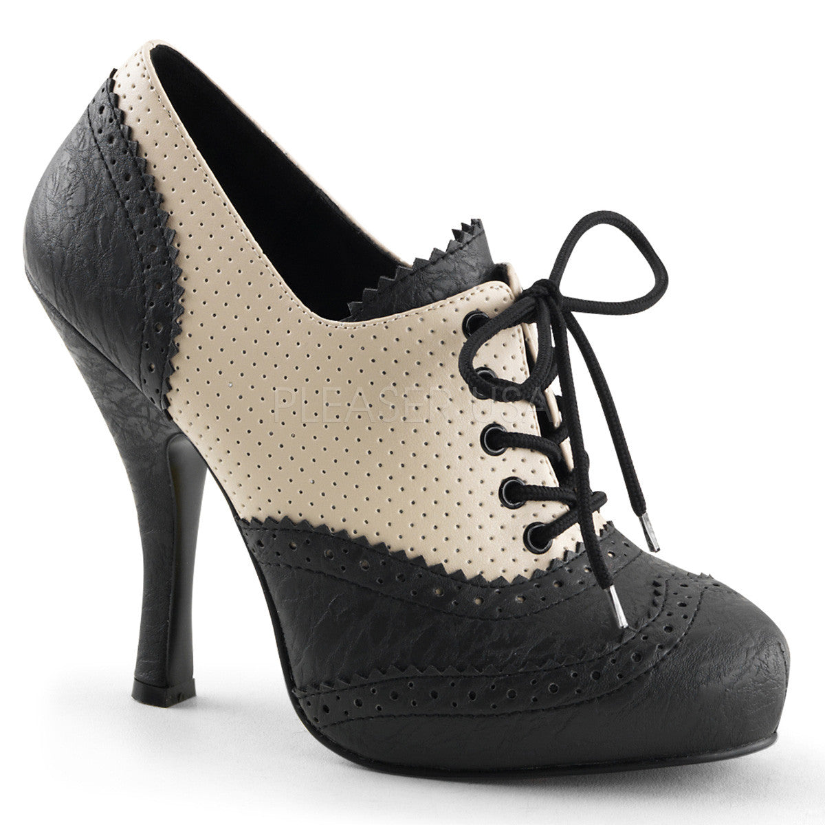 PINUP COUTURE CUTIEPIE-14 Cream-Black Distressed Pu Oxford - Shoecup.com - 1