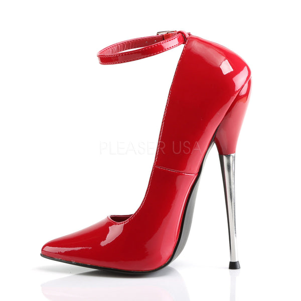 DEVIOUS DAGGER-12 Red Pat Plain Pumps