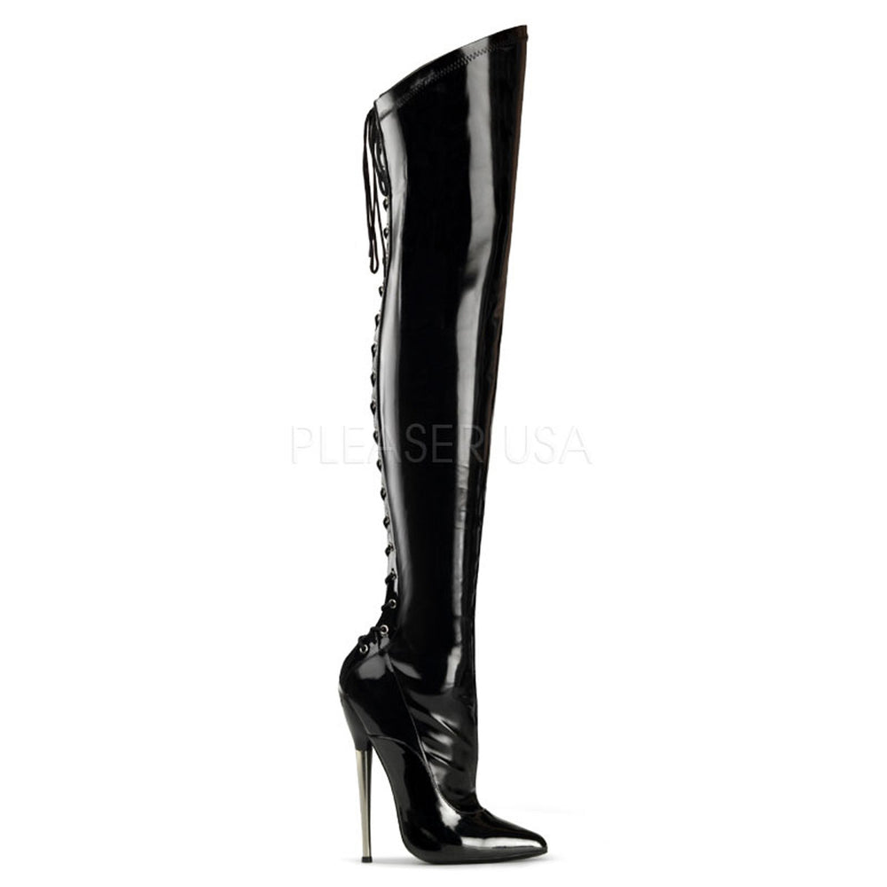 DEVIOUS DAGGER-3060 Black Stretch Pat Fetish Thigh High Boots