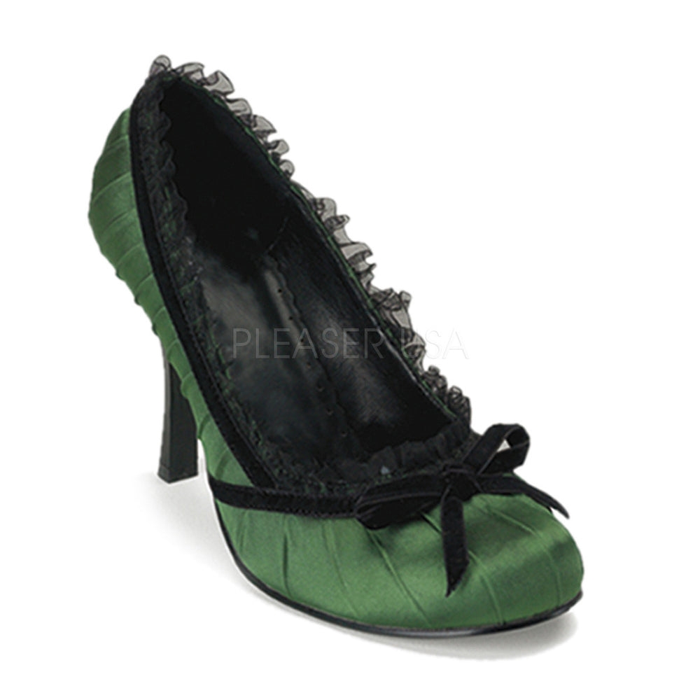 FUNTASMA DAINTY-420 Green Satin Pumps