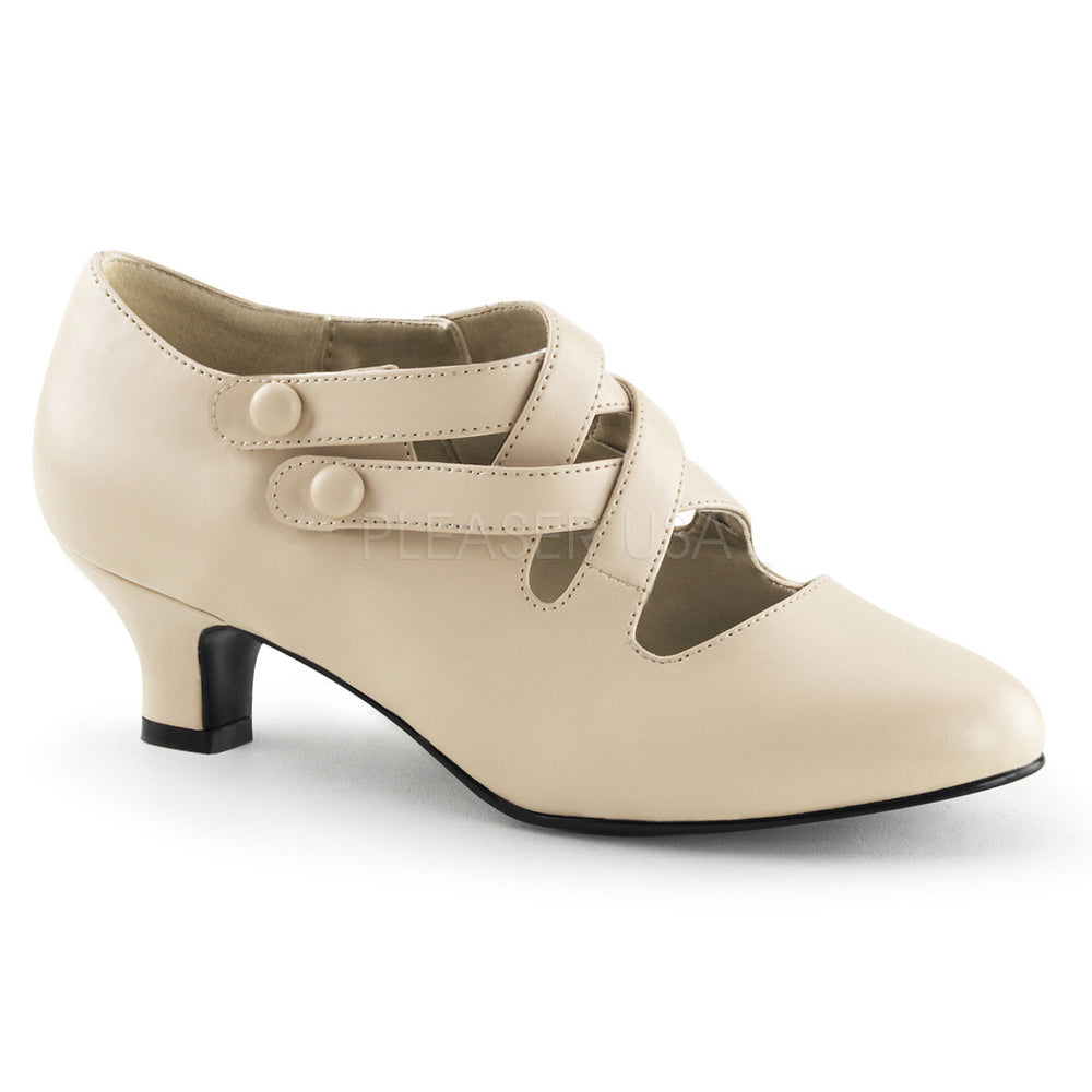 Cream Pu Victorian Shoes With Double Criss-cross Button Straps.