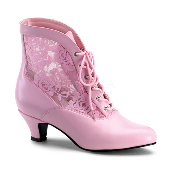 FUNTASMA DAME-05 Baby Pink Victorian Granny Boots With Lace Accent - Shoecup.com