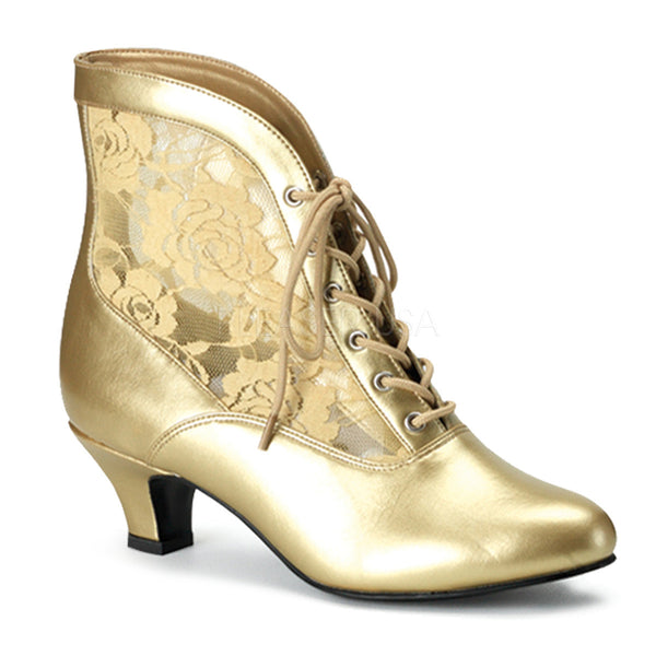FUNTASMA DAME-05 Gold Victorian Granny Boots With Lace Accent - Shoecup.com