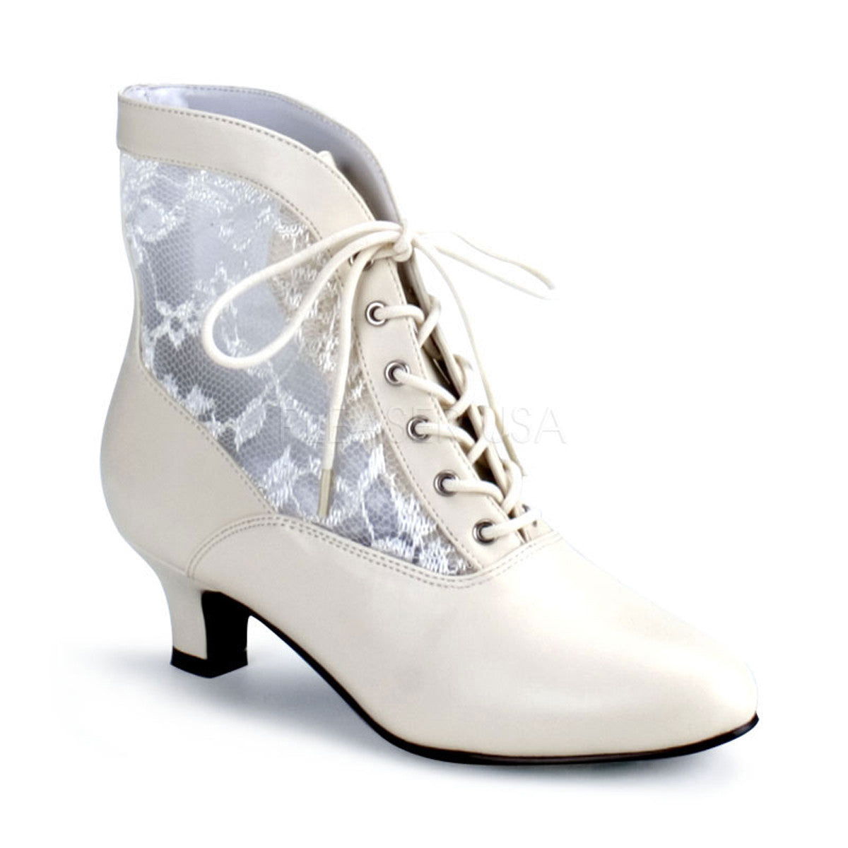 Womens 2 Inch Heels Ivory Lace Victorian Booties Halloween Costume Accessory