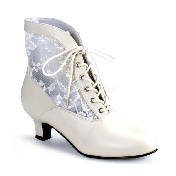 FUNTASMA DAME-05 Ivory Victorian Granny Boots With Lace Accent - Shoecup.com