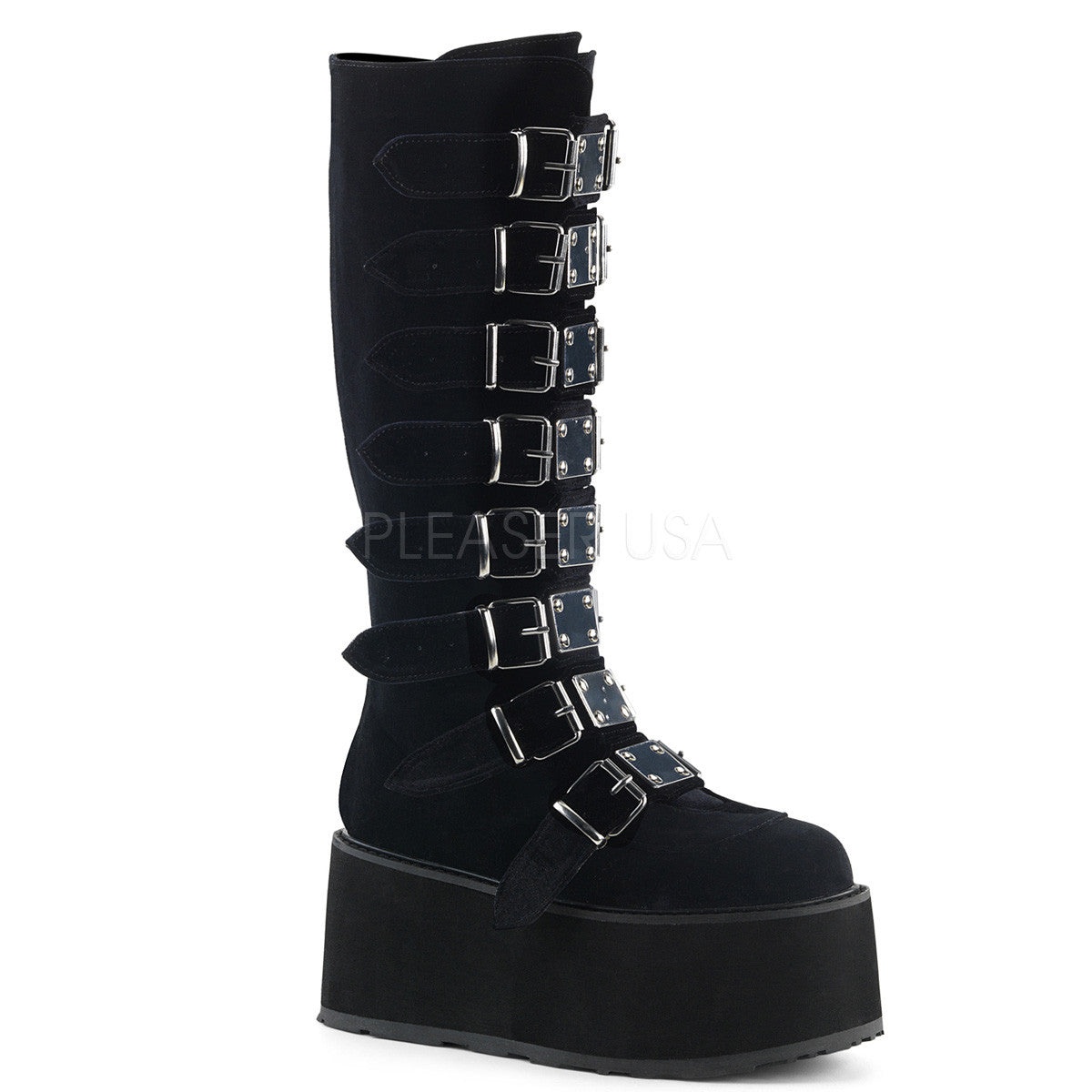 "3 1/2"" Platform Knee High Boot With 8 Buckle Straps, Back Metal Zip"