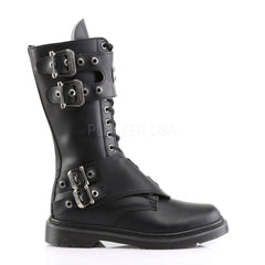 Demonia Men's DEFIANT-302 Men's Black Vegan Leather Goth Punk Combat Boots - Shoecup.com - 3