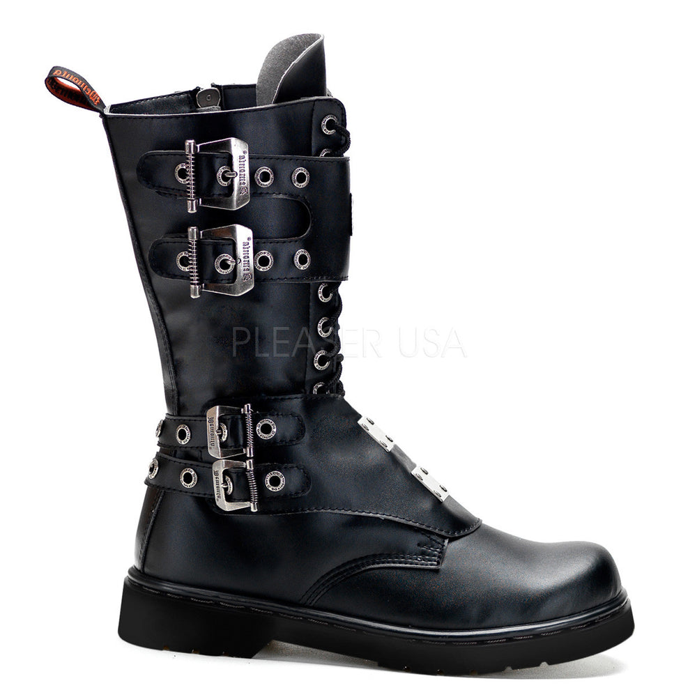 Demonia Men's DEFIANT-302 Men's Black Vegan Leather Goth Punk Combat Boots