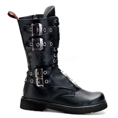 Demonia,Demonia Men's DEFIANT-302 Men's Black Vegan Leather Goth Punk Combat Boots - Shoecup.com