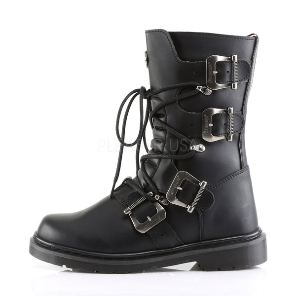 Demonia Men's DEFIANT-306 Men's Black Vegan Leather Goth Punk Combat Boots - Shoecup.com - 2