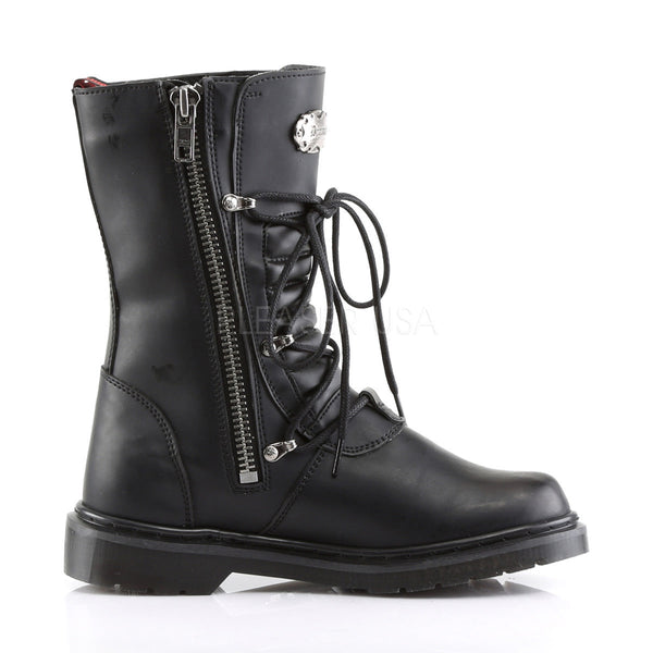Demonia Men's DEFIANT-306 Men's Black Vegan Leather Goth Punk Combat Boots - Shoecup.com - 3