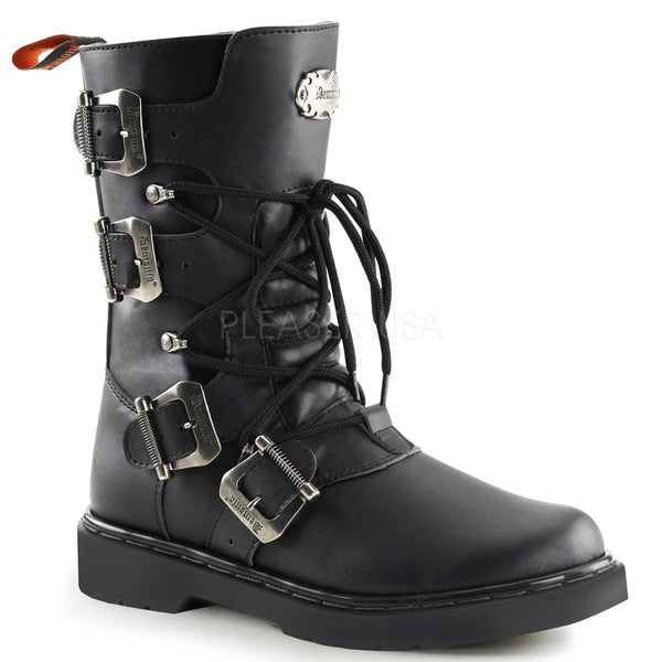Demonia,Demonia Men's DEFIANT-306 Men's Black Vegan Leather Goth Punk Combat Boots - Shoecup.com