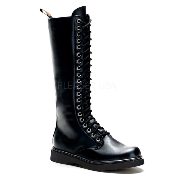 Demonia,Demonia Men's DEFIANT-400 Men's Black Vegan Leather Goth Punk Combat Boots - Shoecup.com