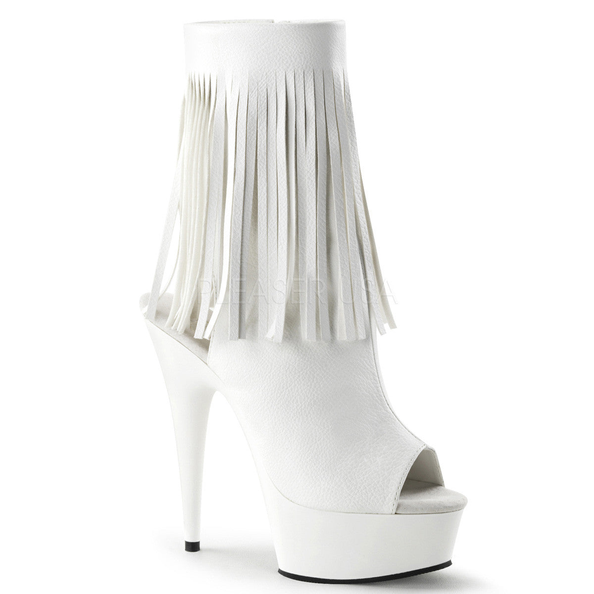 Pleaser DELIGHT-1019 White Pu Open Toe Ankle Boots - Shoecup.com