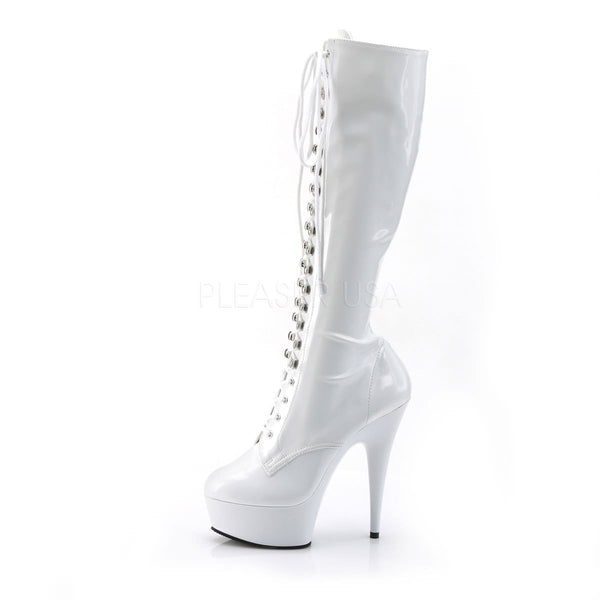 PLEASER DELIGHT-2023 White Stretch Pat-White Knee High Boots