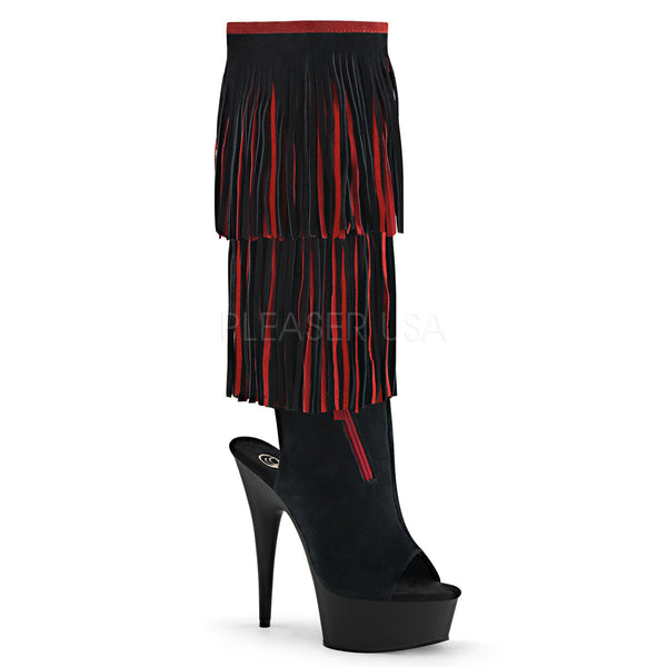 Pleaser DELIGHT-2059TT Black-Red Suede Knee High Fringe Boots - Shoecup.com