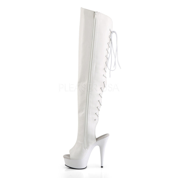 Pleaser DELIGHT-3019 White Faux Leather Thigh High Boots With White Platform