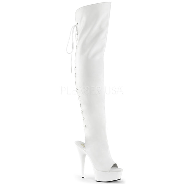 Pleaser DELIGHT-3019 White Faux Leather Thigh High Boots With White Platform - Shoecup.com