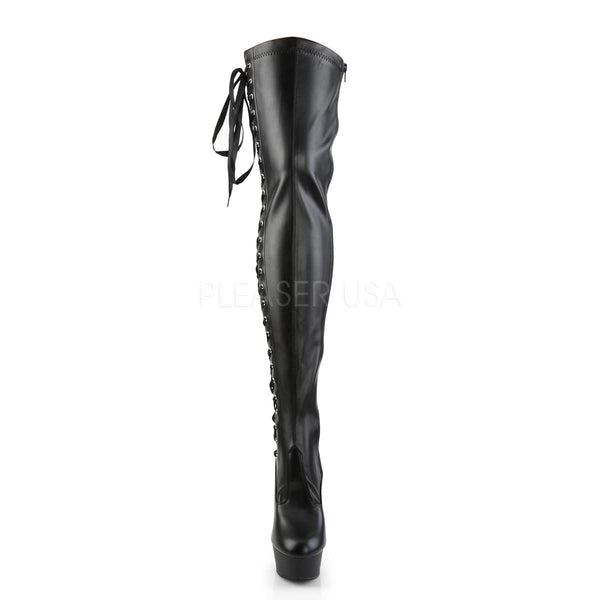 Pleaser DELIGHT-3050 Black Stretch Faux Leather Thigh High Boots