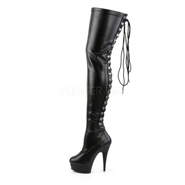 PLEASER DELIGHT-3063 Black Stretch Pu-Black Thigh High Boots
