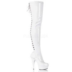 PLEASER DELIGHT-3063 White Stretch Pat-White Thigh High Boots - Shoecup.com