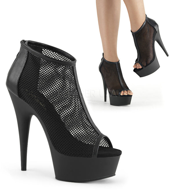 Pleaser DELIGHT-600-12 Black Faux Leather-Fishnet Mesh Boots - Shoecup.com