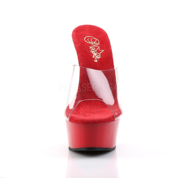 PLEASER DELIGHT-601 Clear-Red Stiletto Slides