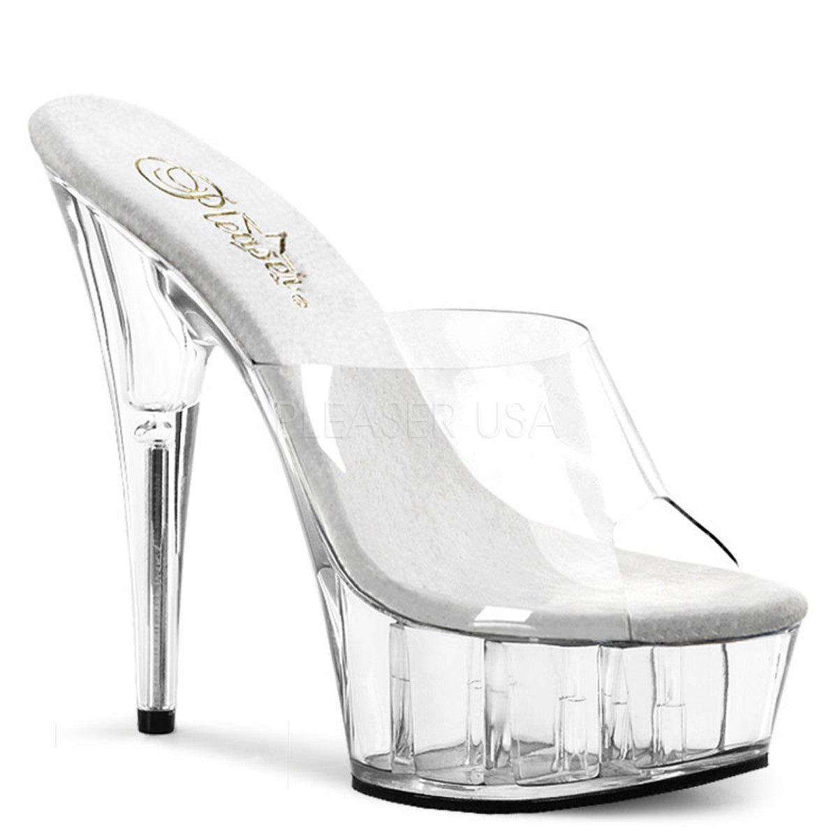 PLEASER DELIGHT-601 Clear Stiletto Slides - Shoecup.com
