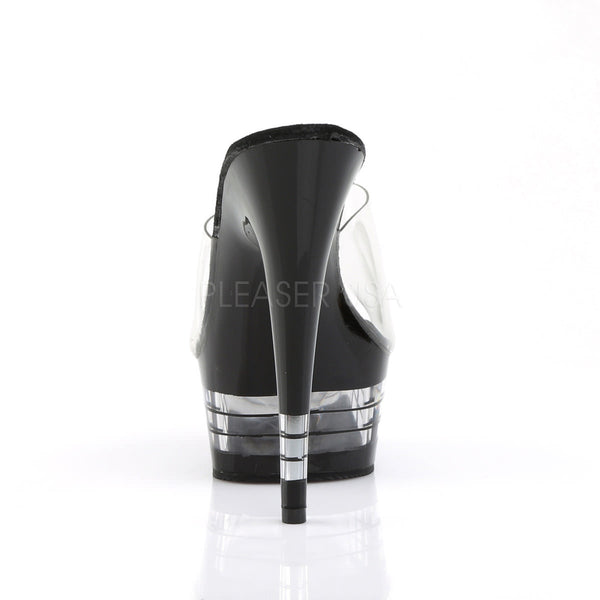 PLEASER DELIGHT-601LN Clear-Black Platform Slides