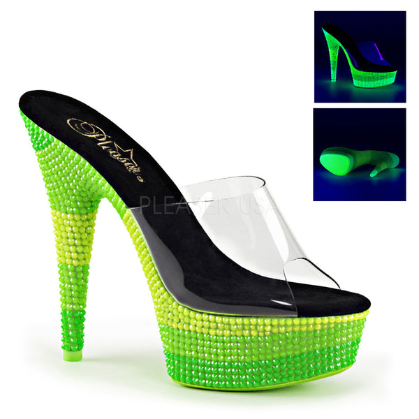Pleaser DELIGHT-601UVS Clear Slides With Neon Green Platform - Shoecup.com