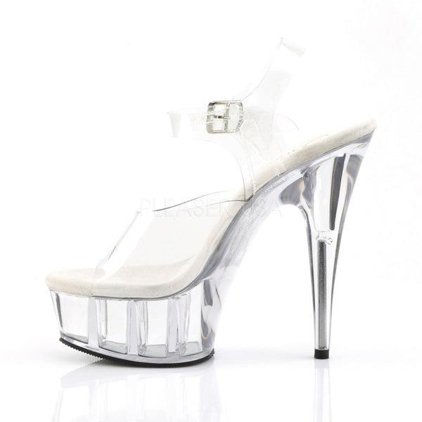 PLEASER DELIGHT-608 Clear Ankle Strap Sandals