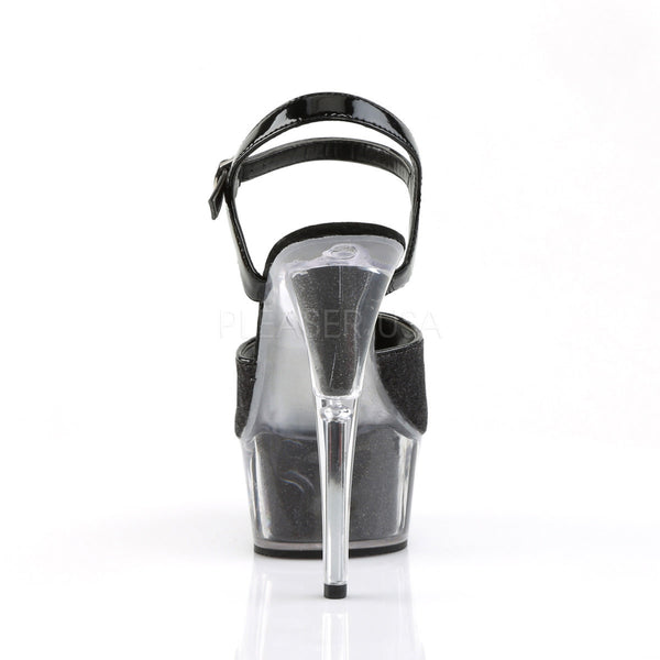 PLEASER DELIGHT-609-5G Black Glitter-Black Glitter Ankle Strap Sandals