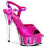 PLEASER DELIGHT-609-5G Hot Pink Glitter-Hot Pink Glitter Ankle Strap Sandals - Shoecup.com
