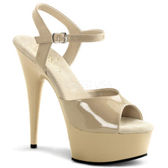 PLEASER DELIGHT-609 Cream-Cream Ankle Strap Sandals - Shoecup.com