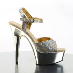 PLEASER DELIGHT-609G Gold Multi Glitter-Gold Chrome Ankle Strap Sandals