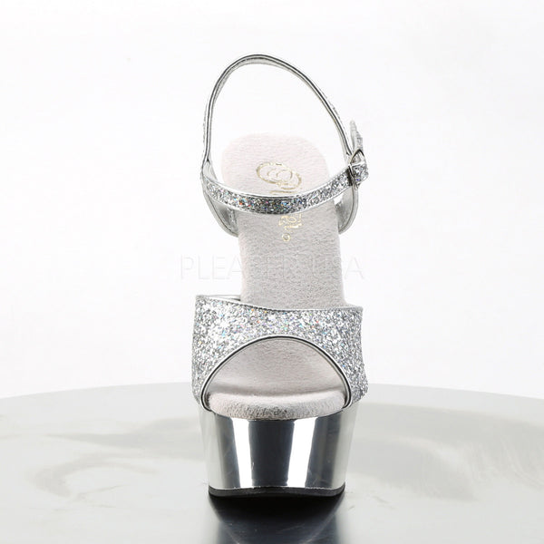 PLEASER DELIGHT-609G Silver Multi Glitter-Silver Chrome Ankle Strap Sandals