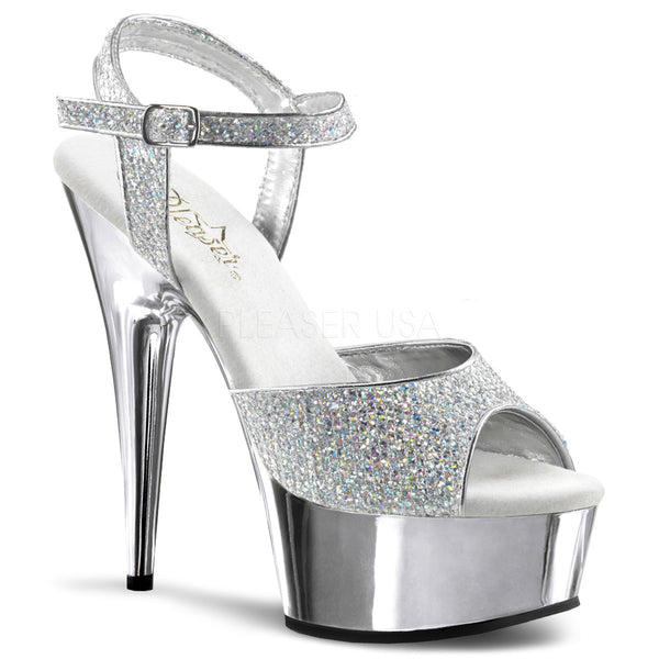PLEASER DELIGHT-609G Silver Multi Glitter-Silver Chrome Ankle Strap Sandals - Shoecup.com