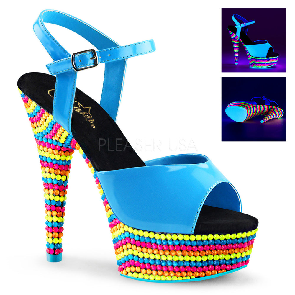 Pleaser DELIGHT-609RBS Neon Blue Ankle Strap Sandals With Neon Multi Color Platform