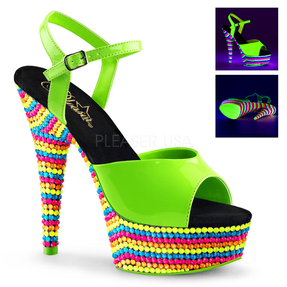 Pleaser DELIGHT-609RBS Neon Green Ankle Strap Sandals With Neon Multi Color Platform