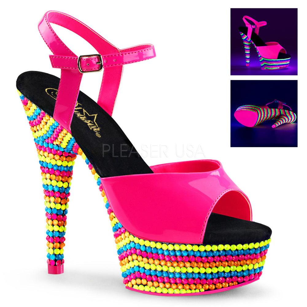 Pleaser DELIGHT-609RBS Neon Hot Pink Ankle Strap Sandals With Neon Multi Color Platform