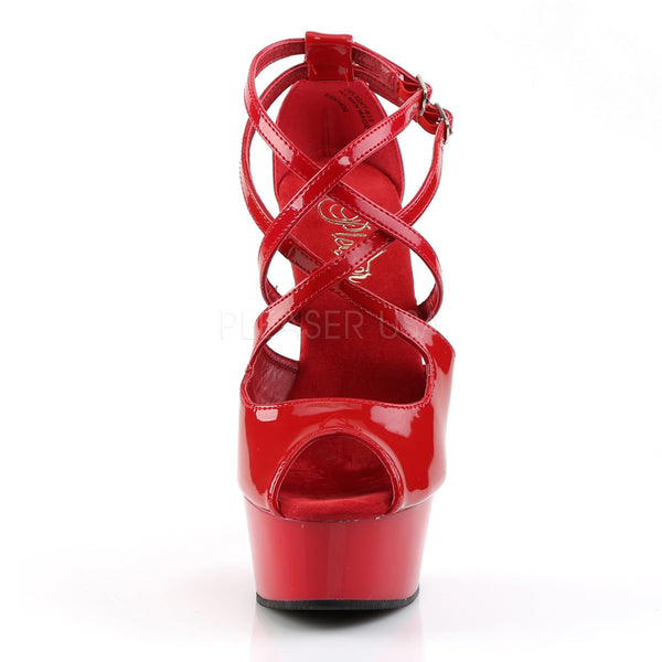 PLEASER DELIGHT-612 Red-Red Ankle Strap Sandals