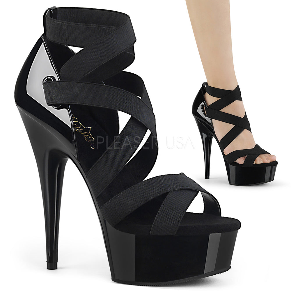 "6"" Heel DELIGHT-657 Black Elastic Band"