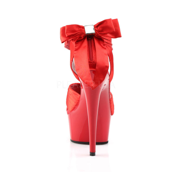 PLEASER DELIGHT-668 Red Satin-Red Sandals