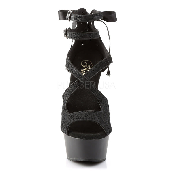 PLEASER DELIGHT-678LC Black Satin-Lace-Black Matte Ankle Strap Sandals